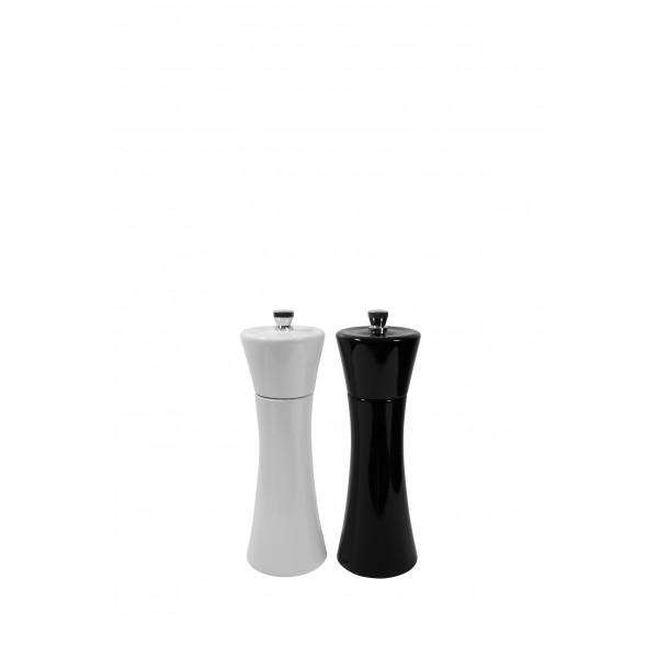 Ekskluzywne młynki do pieprzu i soli- komplet biały + czarny- 18cm