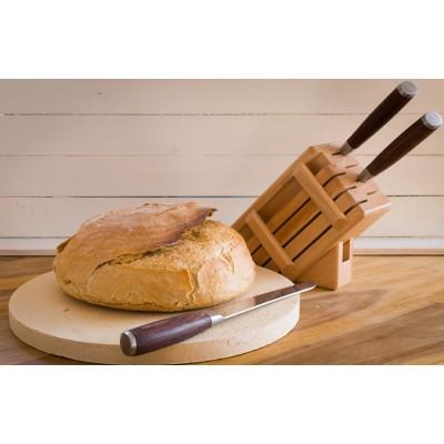 Drewniany blok na noże - naturalny (7 noży + stalka)