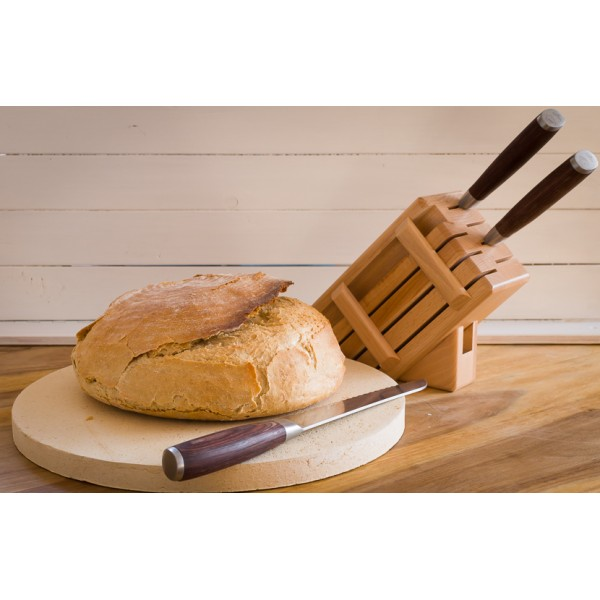 Drewniany blok na noże - jasny (7 noży + stalka)