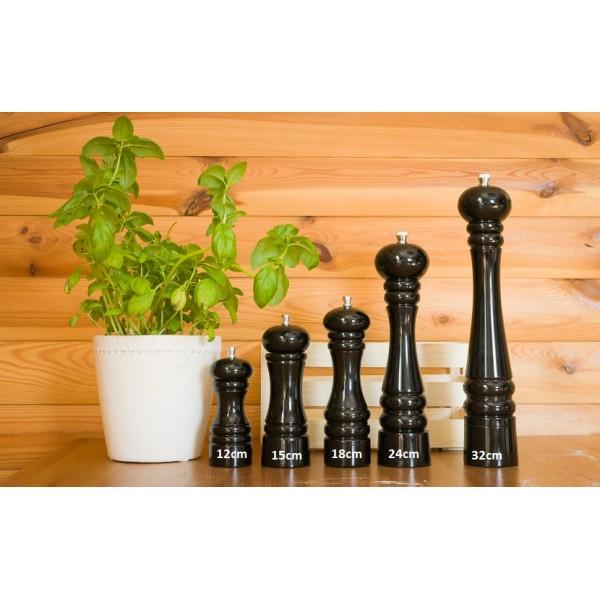 Drewniany młynek do przypraw - czarny, wys. 18cm