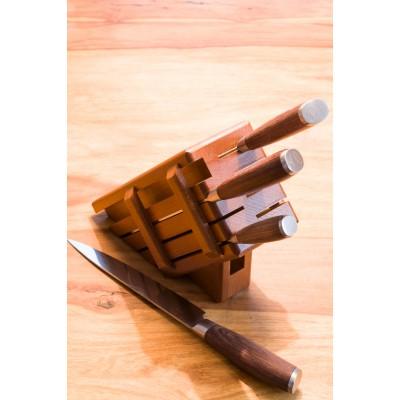 Drewniany blok na noże - ciemny (7 noży + stalka)