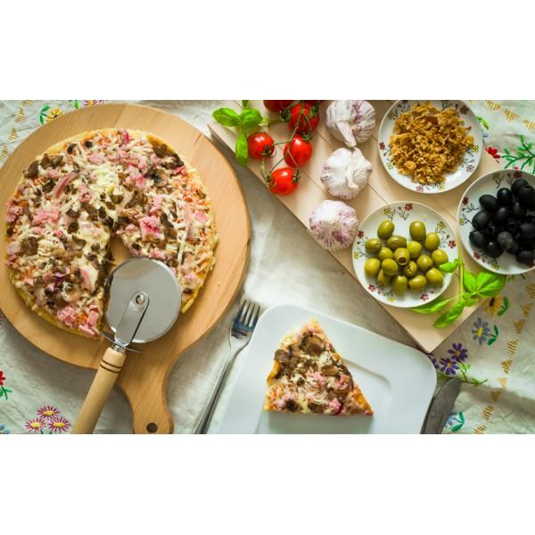 Nóż do pizzy - drewno + stal