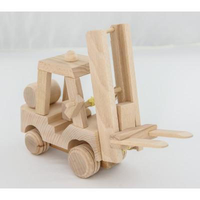Zabawka, wózek widłowy, widlak (z drewna)