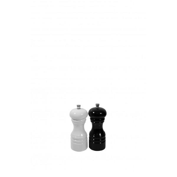 Drewniany młynek do przypraw - komplet biały oraz czarny, wys. 12cm